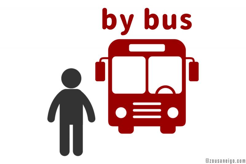 byの用法イメージ go by bus【手段・方法】