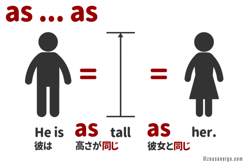 asのイメージ He is as tall as her.