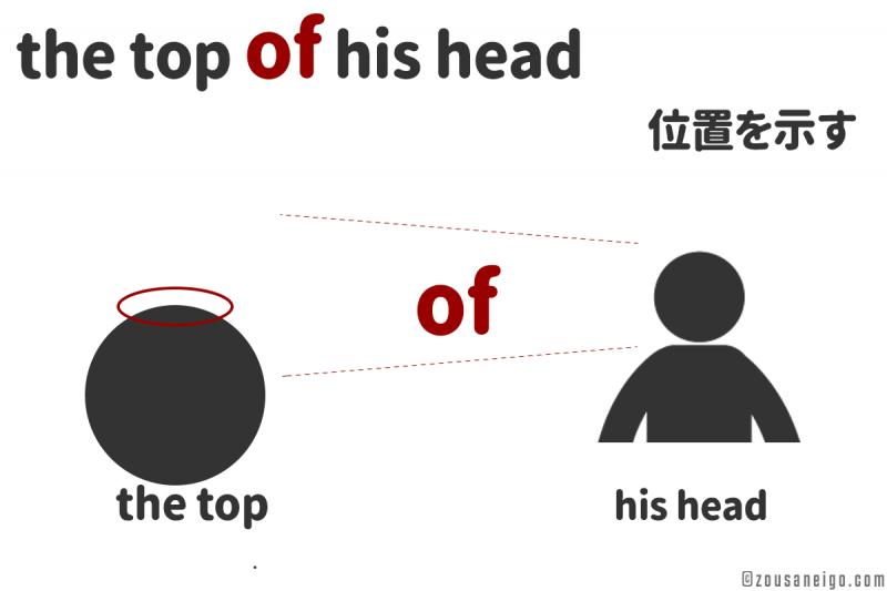 前置詞of the top of his head のofのイメージ